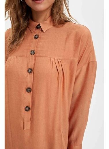 DeFacto Düğmeli Gömlek Tunik Oranj